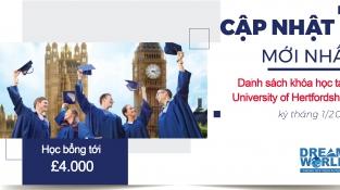Cập nhật danh sách khóa học tại Đại học Hertfordshire kỳ tháng 1/2022